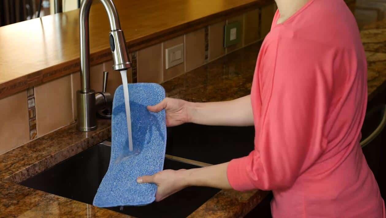 Use a slightly damp mop